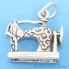 ANTIQUE STYLE SEWING MACHINE 3D .925 Solid Sterling Silver Charm Pendant 4.6gr