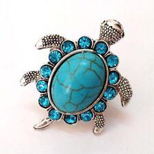 Cute For Men Women Adjustable Ring Tortoise Finger Ring Blue Rhinestone