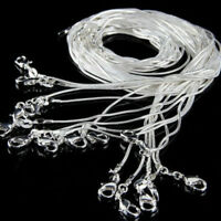 "10PCS wholesale 925 sterling solid Silver 1mm snake chain Necklace 16""--28"" Lots"