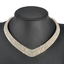 Fashion Women Crystal Choker Chunky Statement Bib Chain Pendant Necklace Jewelry