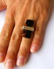 Ring, Silberfassung, 925,  schwarzer POLIERTER Bernstein  UNIKAT -NEU -