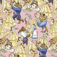 """Disney Beauty and The Beast Packed Yellow 100% Cotton Fabric Remnant 24"""""""