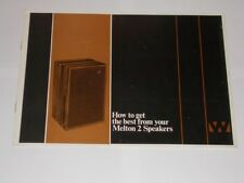 Wharfedale Melton 2 Speakers. How To Get The Best Of. Vintage Original Booklet.