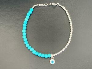 925 Sterling Silver Evil Eye Mati Nazar Ball Bracelet MOP Turquoise Women