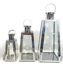 slanted pyramid shaped stainless steel set of 3 LANTERNS free 20 LED lights