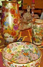 #3!!  Antiques  Meiji  Mille Fiori Japanese Satsuma porcelain   vase  lot 1900's