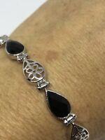 Vintage Genuine Black Onyx 925 Sterling Silver Deco Tennis Bracelet