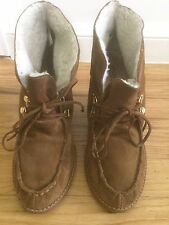 MICHAEL MICHAEL KORS Tan Suede Sherpa Lined Lace Up Ankle Wedge Boots US 7.5M