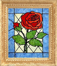 STAINED GLASS ROSE Dollhouse Picture - Framed ART - MADE IN AMERICA