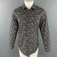 PAUL SMITH The Westbound Size S Black & White Floral Cotton Long Sleeve Shirt