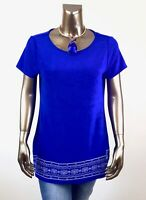 CHICO'S TRAVELERS $85 NEW BLUE EMBROIDERED TOP SIZE 4 (2X)