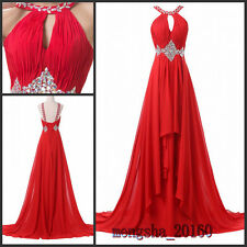 Plus Size Chiffon Long Prom Gown Cryatal Sexy Party Evening Bridesmaid Dresses