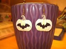 White Pumpkin with a bat for Halloween or Thanksgiving time Dangle Earring