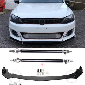 For VW Golf Passat Jetta MK5 MK6 Front Bumper Lip Splitter Spoiler + Strut Rods