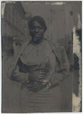DRY PLATE IMAGE ON PLASTIC, UNMOUNTED, 19020S TO 1940S. AFRICAN AMERICAN WOMAN.