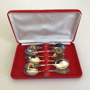 Set of Six Australian Souvenir Silver Plate Spoons with Floral Decoration #662