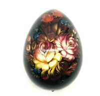 """Vintage Russian Hand Painted Lacquer Wood Egg Flower  Artist Signed NICE 4"""""""