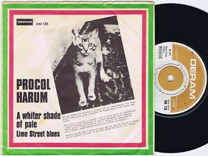 """PROCOL HARUM A Whiter Shade of Pale Danish 45PS 1967 VG(-) Deram 7"""""""