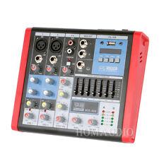 4 Channels Audio Mixer Console Mixing Equalizer DJ Sound Desk 48v Phantom Power