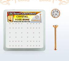 22g (0.6mm) Rose Gold Nose Bone Stud Post 1.25mm Round Clear CZ Crystal Gem Set