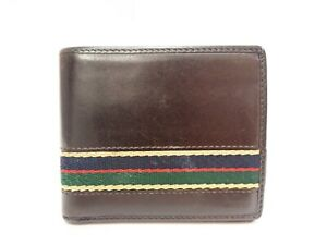 Authentic GUCCI Bifold Card Wallet Leather Brown Vintage