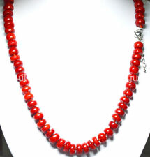 "5x10mm Red Coral Rondelle Gems Beads Jewelry Necklaces 20"" Love Clasp JN592"