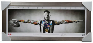 Dane Swan Signed Mini Wings Collingwood Print AFL Official Print Silver Frame