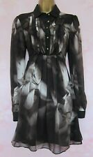 TED BAKER ~Haunted Lily~ Dress UK 8 1 ~ Pure Silk Black Grey Floral Beautiful!