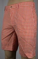 Polo Ralph Lauren Orange White Checkered Suffield Fit Shorts NWT