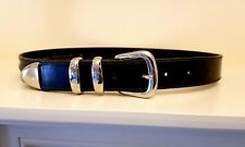 COUNTRY ROAD black leather BELT. Mde ITALY. Sz S  ( 6 to 8). As New.