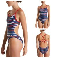 NIKE Womens Size 6 One Piece Swimsuit Americana Crossback Cut Out Blue Red NEW