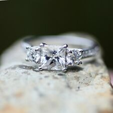 Three Stone Princess Cut Moissanite Engagement Ring Sterling Silver  Size 6