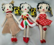 "3 Betty Boop 1999 Holiday Dolls 12"" With Tags Santa, Reindeer, Red Heart"