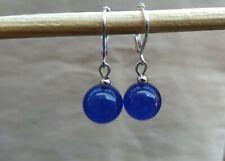 Blue Sapphire Jade Earrings Leverback NEW