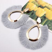 Women Fashion Bohemian Aolly Long Tassel Dangle Fringe Drop Stud Earrings Gift