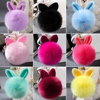 Women Fluffy Bunny Pompom Keychains Bag Rabbit Ear Fur Ball Pendant Cute Keyring