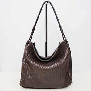 BOTTEGA VENETA Brown Intrecciato Woven Leather Hobo Bag