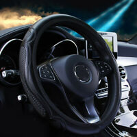 Black Car Steering Wheel Cover Quality Leather Breathable Anti-slip 37-38cm x1