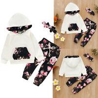 Kids Baby Girls Long Sleeve Hooded Tops +Floral Printed Pants+Headband 3Pcs Set