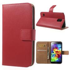 Samsung Galaxy S5 Neo G900 Wallet Case echt Leder Genuine Split Magnet Etui rot