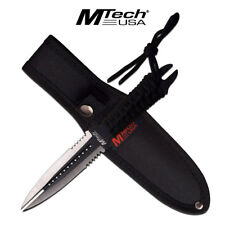 "Fixed-Blade Dagger Mtech 8.5"" Silver Black Double Edge Blade Dual Tip Wasp Knife"