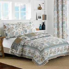 All American Collection New Reversible Floral Printed Blue/White Bedspread/Quilt