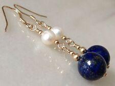 Beautiful Round Lapis Lazuli Gemstones & FW Pearls 14ct Rolled Gold Earrings
