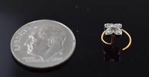 Authentic 18K Yellow Gold Nose Ring Flower Design Round-Cut-Diamond VS2 n12