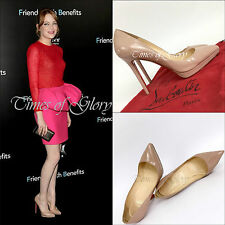 Auth Christian Louboutin Nude PIGALLE PLATO 120 Pumps Heels Shoes Size 37.5 37