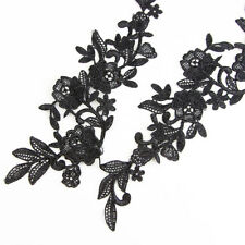 3 Pairs Black Lace Flowers Trim Embroidery Sewing Bridal Dress Applique Crafts