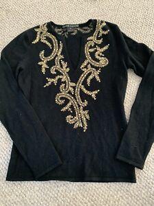 RALPH LAUREN Women's Black Cashmere Gold Embroidered Medium Worn Few Times