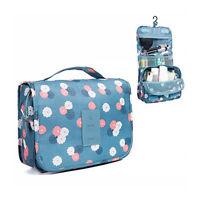 Floral Hanging Roll Up Bag Toiletry Bag Waterproof Cosmetic Makeup Case