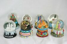 Lot of 8 Miniature Snow Globes - Water Domes - Vintage - Various Travel - 3.5""