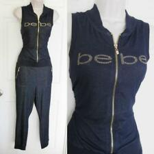 BEBE DENIM LOGO CATSUIT JUMPSUIT NEW NWT SMALL S